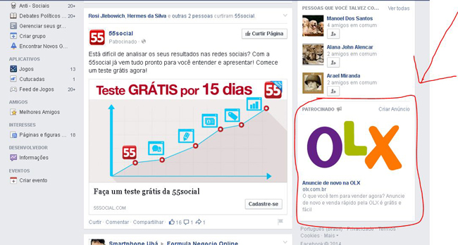 links patrocinados facebook ads.